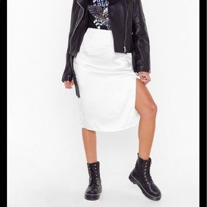 Nasty Gal white satin split midi front skirt